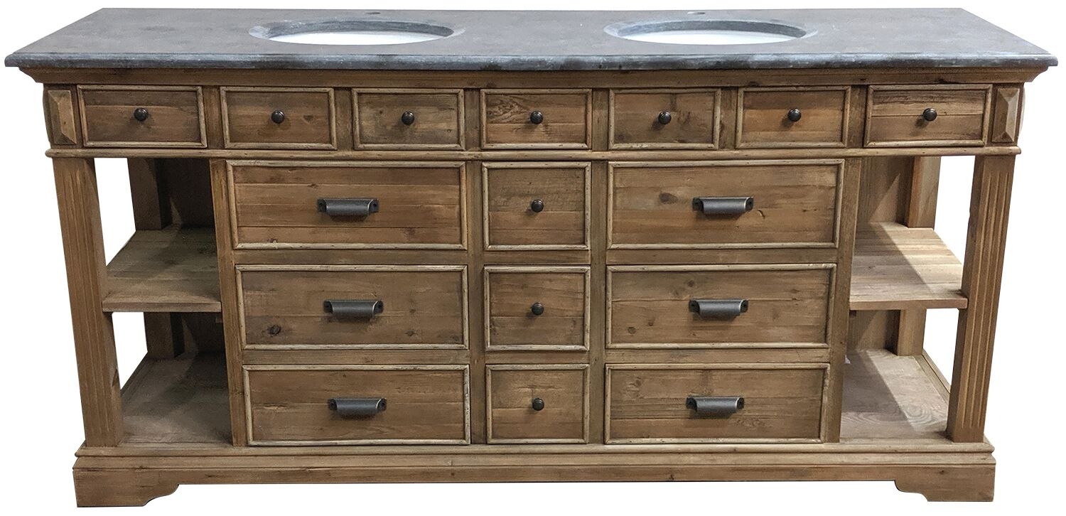 75 Handcrafted Reclaimed Pine Solid Wood Double Bath Vanity Natural Finish