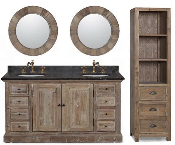 60 Inch Rustic Double Sink Bathroom Vanity Wk1860 Marble Top
