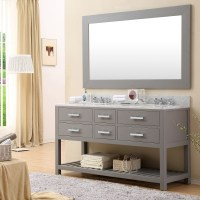 Cadale 60 inch Gray Finish Double Sink Bathroom Vanity Two ...