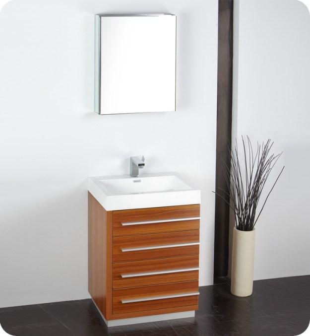 "fresca livello 24"" teak modern bathroom vanity with faucet, medicine"