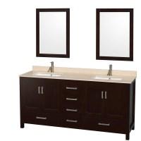 Sheffield 72 inch Double Sink Bathroom Vanity Espresso ...