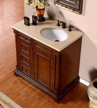 Silkroad 36 inch Antique Single Sink Bathroom Vanity Cream ...