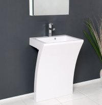 "Fresca Quadro Collection 23"" White Pedestal Sink Modern ..."
