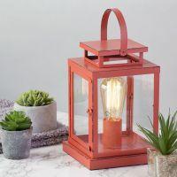 1 Light Vintage Lantern Table Lamp - Red From Litecraft