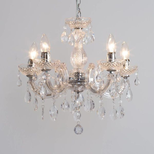 Marie Therese Chandelier 5 Light Dual Mount - Chrome