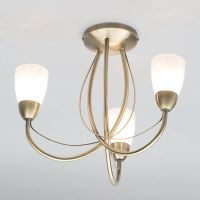 Madrid - Semi Flush Ceiling Light - 3 Light - Antique Brass