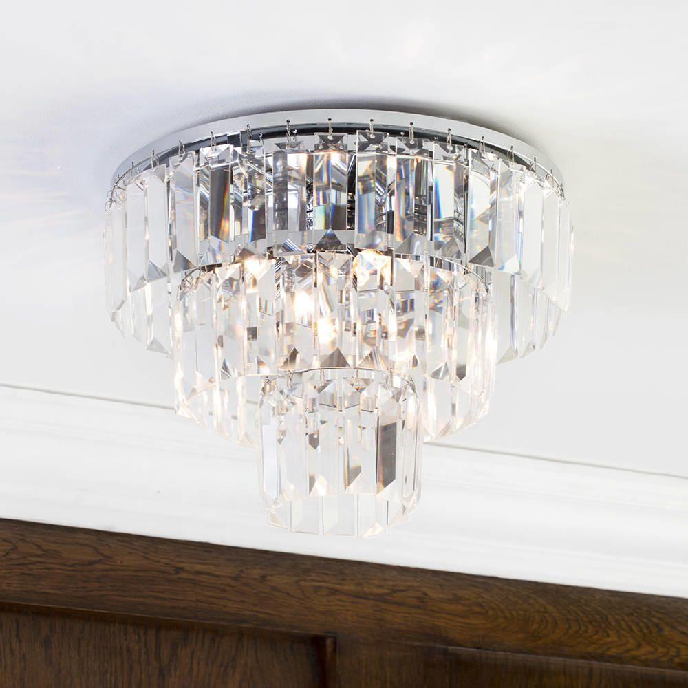 Prism 3 Tier Crystal Flush Ceiling Light Chrome Amp Glass