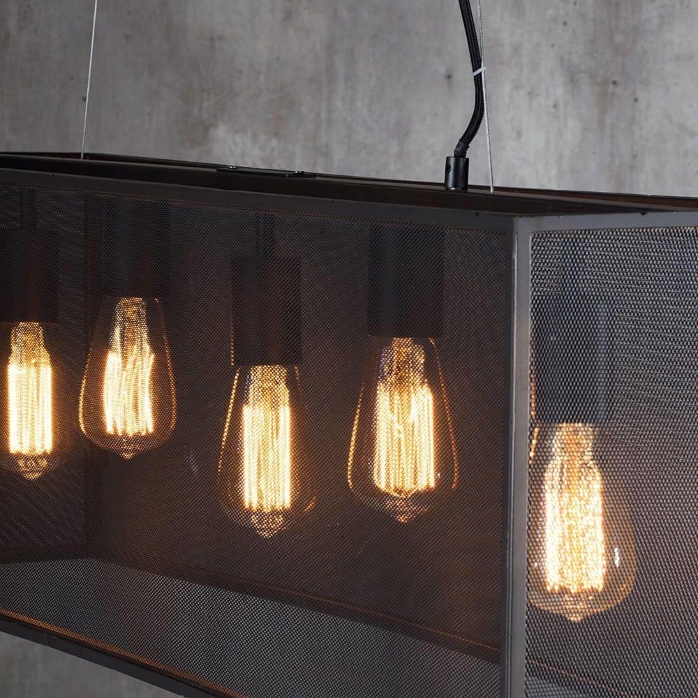 fluorescent light covers for kitchen runner rugs 5 industrial diner mesh bar ceiling pendant - black