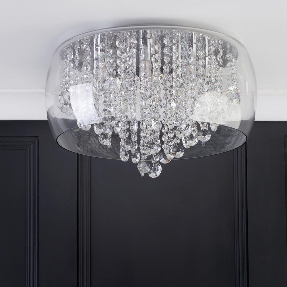 Marquis by Waterford  Nore LED Large Encased Flush Bathroom Ceiling Light  Chrome  Glass From