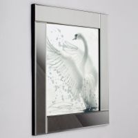 Square Mirror Picture Frame with Glittered Swan ...