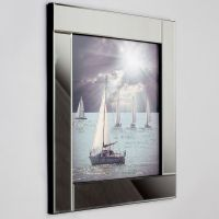 Square Mirror Picture Frame with Glittered Sailing Boats ...