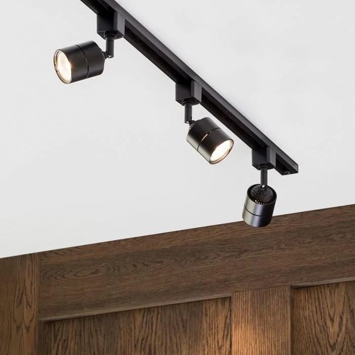 1 metre track light kit with 3 soho heads and led bulbs black