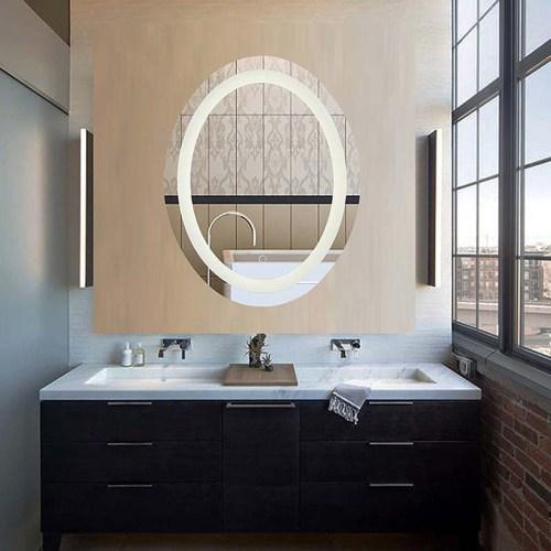 Oval insert led bathroom mirror
