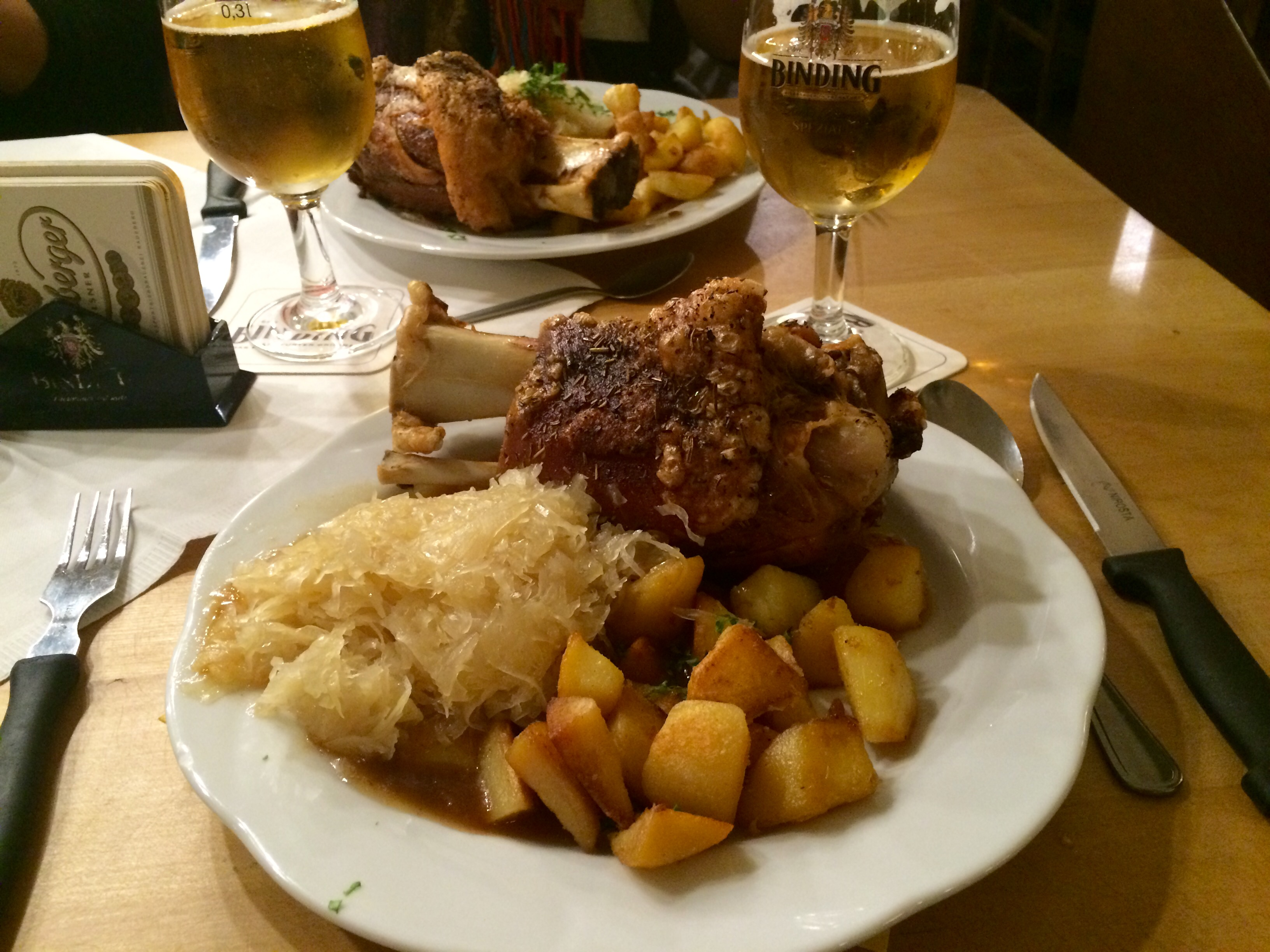 Our farewell dinner in Germany. Roasted pork knuckle and sauerkraut.