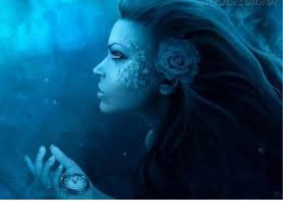 A sereia embaixo da água