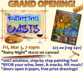 Grand Opening 'Rainy Night' Public San Antonio TX BYOB Paint