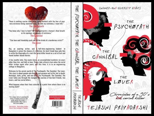 New Cover of Tejaswi Priyadarshi's debut horror-thriller novel The Psychopath, The Cannibal, The Lover (2020).