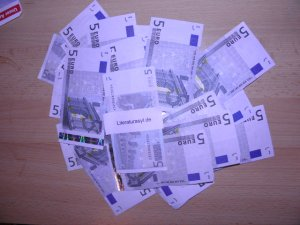 Das Haushaltsgeld des Sparmonats auf einem Haufen