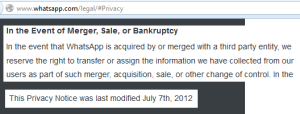 Auszug aus Whatsapp Privacy