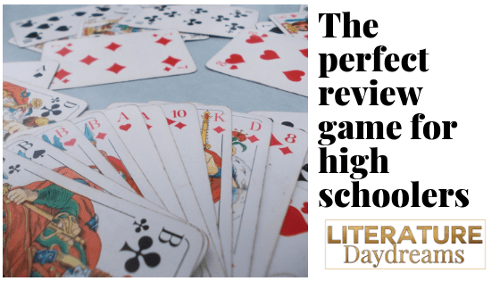 "Card game image with text ""the perfect review game for high schoolers"""