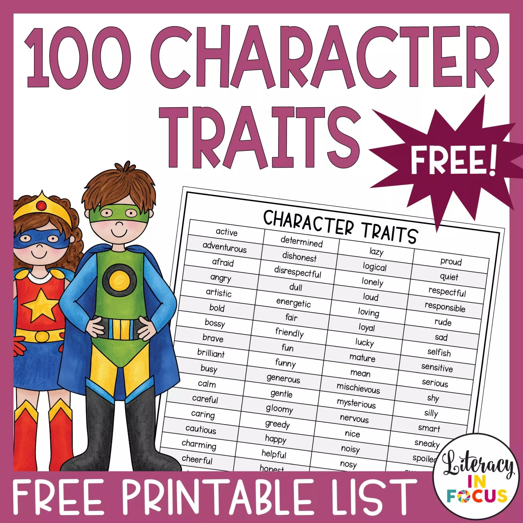 100 Character Traits List Free Printable