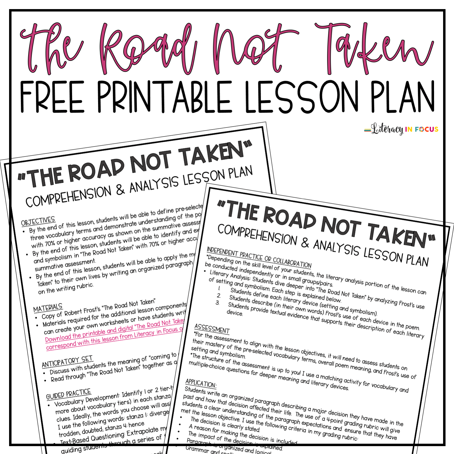 hight resolution of Robert Frost's \The Road Not Taken\ Lesson Plan PDF   Literacy In Focus