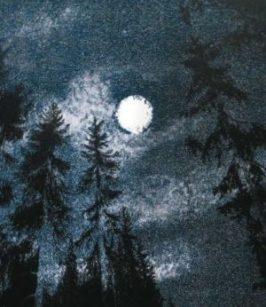 Litografisk bild, skogsmotiv, natthimmel med fullmåne.