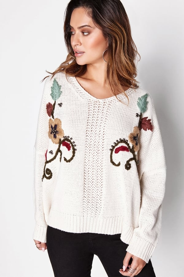 Girls on Film Beige Embellished Jumper