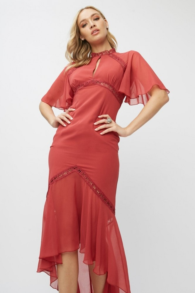 Little Mistress Luisa Marsala Lace-Trim Maxi Dress