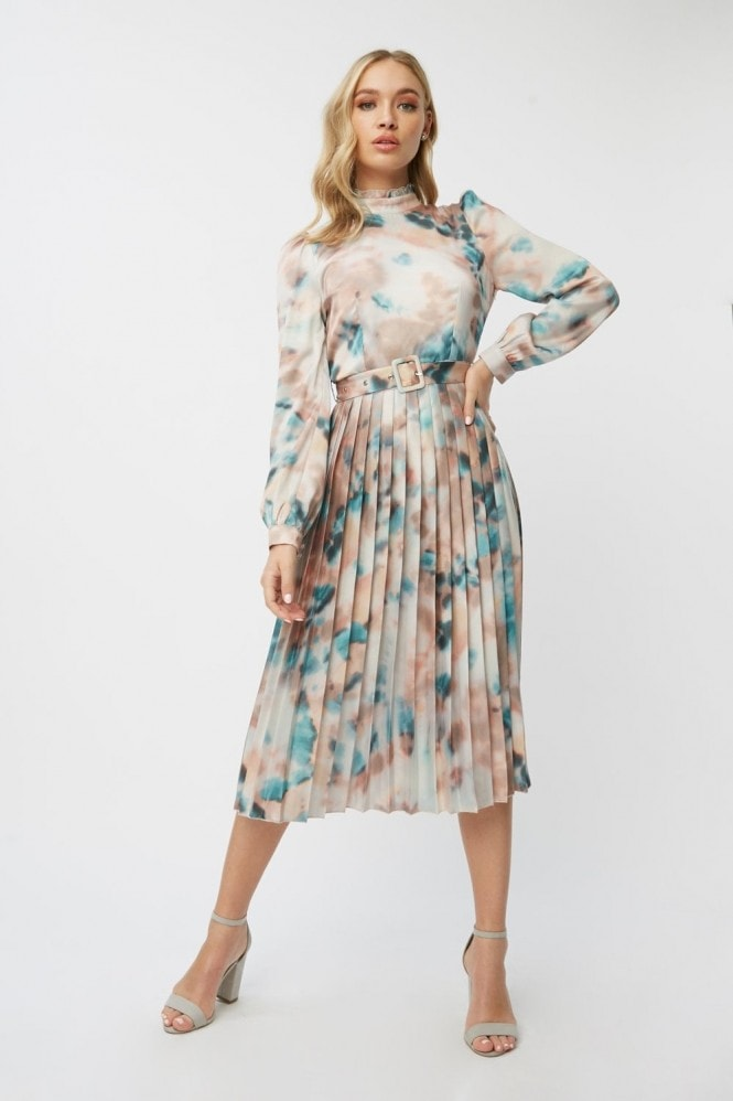 Little Mistress Mishka Agate-Print Belted Midi Dress 9