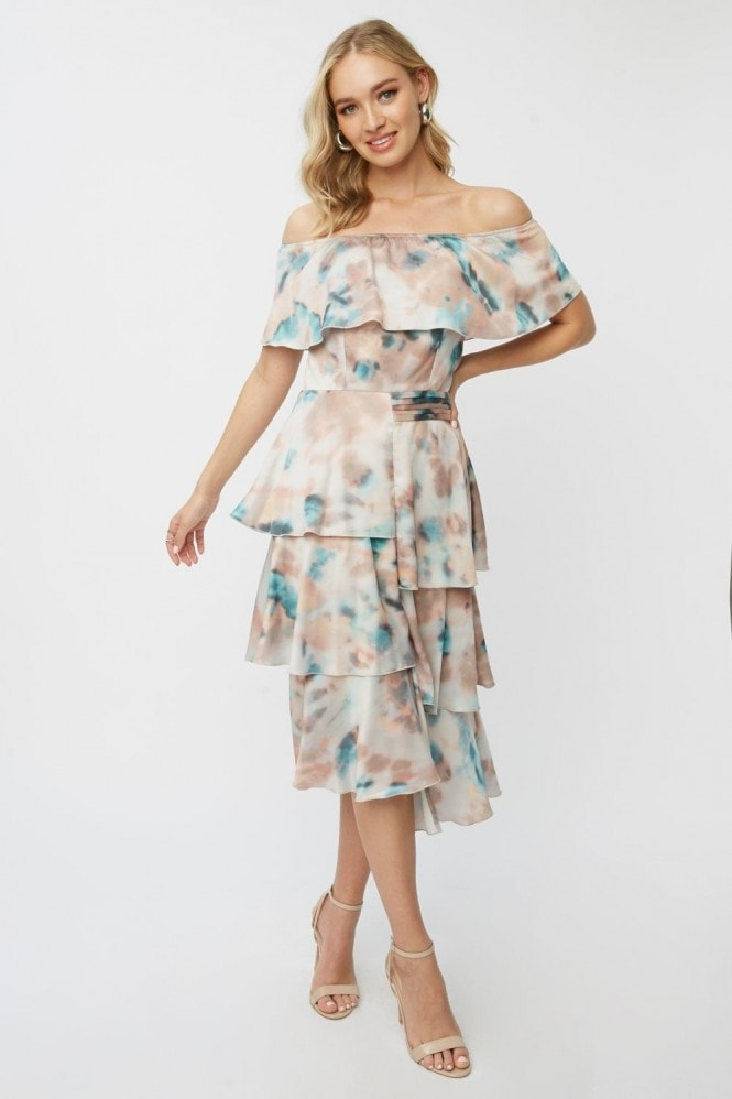 Little Mistress Mishka Agate-Print Tiered Bardot Midi Dress 1