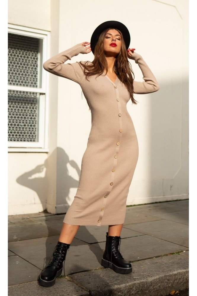 SlayTwins Sofia Knitted Long Sleeve Midi Dress with Buttons in Beige 5