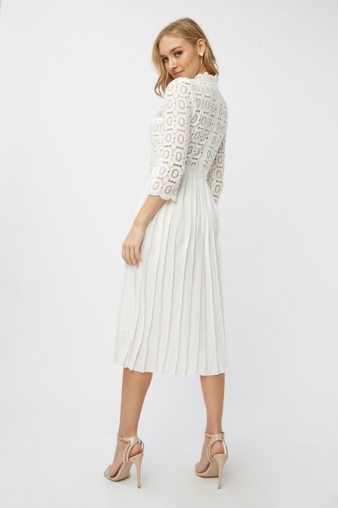 Little Mistress Alice White Crochet Top Midi Dress With Pleated Skirt