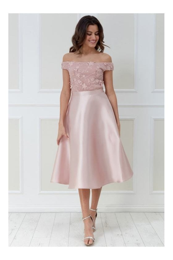 Goddiva 3D Flower Lace Off the Shoulder Midi Dress - Blush 26