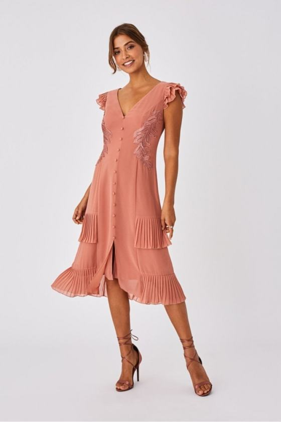 Little Mistress Ada Rose Gold Applique And Frill Midi Dress 26