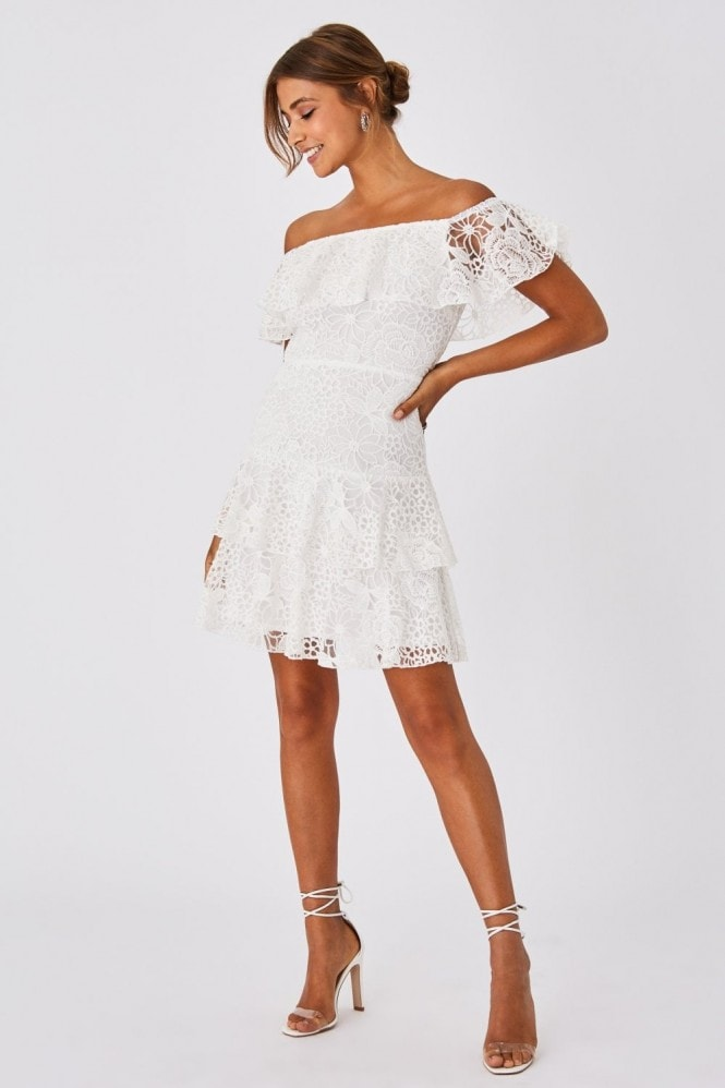 Little Mistress Ellen Optic White Crochet Lace Bardot Frill Mini Dress 8