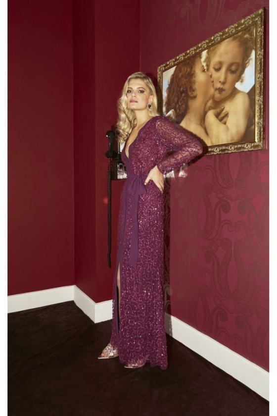 Little Mistress Quinn Plum Embellished Sequin Maxi Dress 1