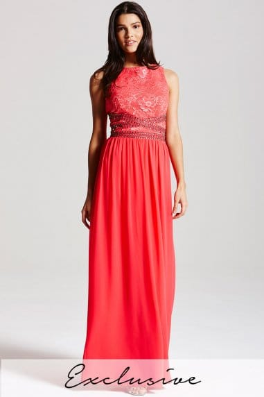 Coral lace embellished maxi dress