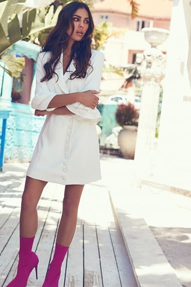 White Wrap Blazer Dress