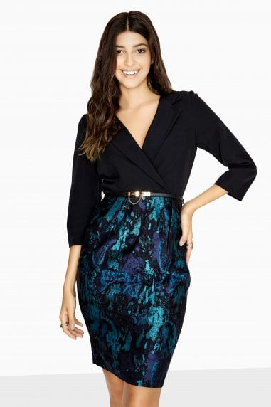Wentworth Tuxedo Pencil Dress With Jacquard Skirt