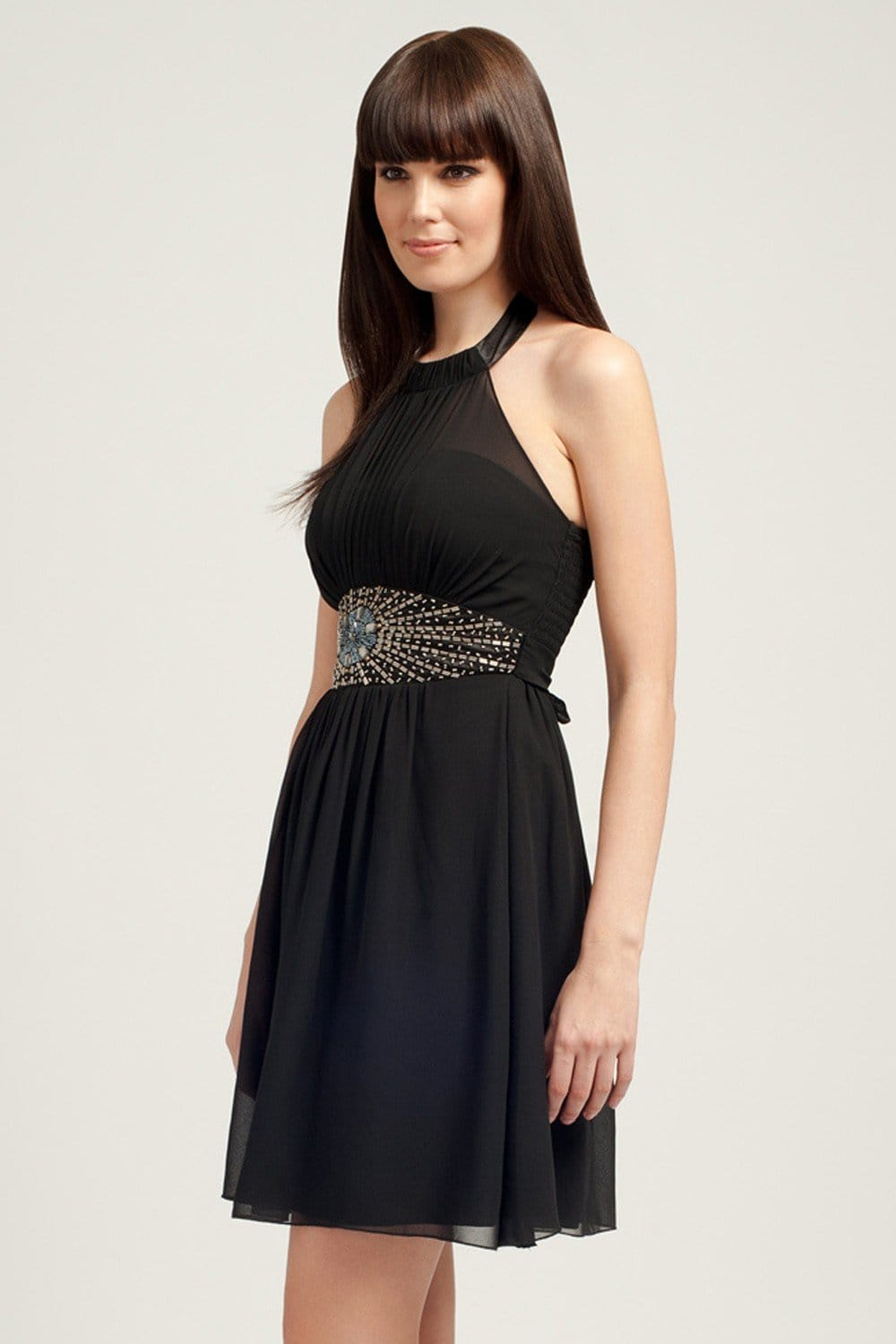 Little Mistress Black Embellished Halter Neck Prom Dress