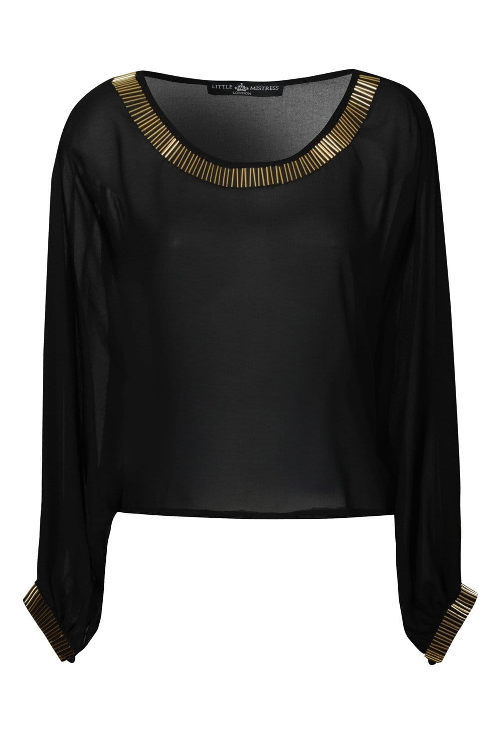 Little Mistress Black Long Sleeve Chiffon Batwing Top With Gold Beading