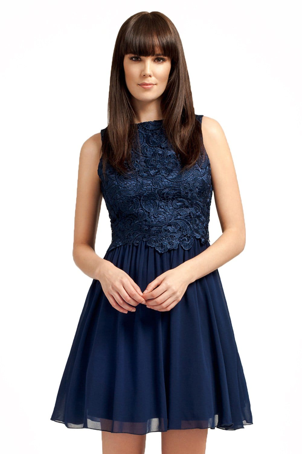 Little Mistress Navy Lace Detailed Dress