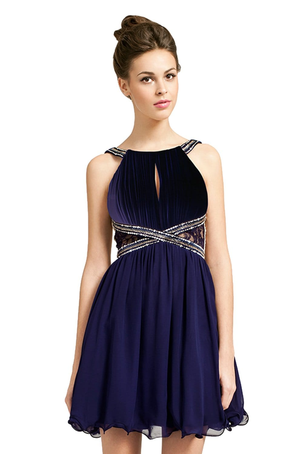 Navy Embellished Straps Lace Panel Dress