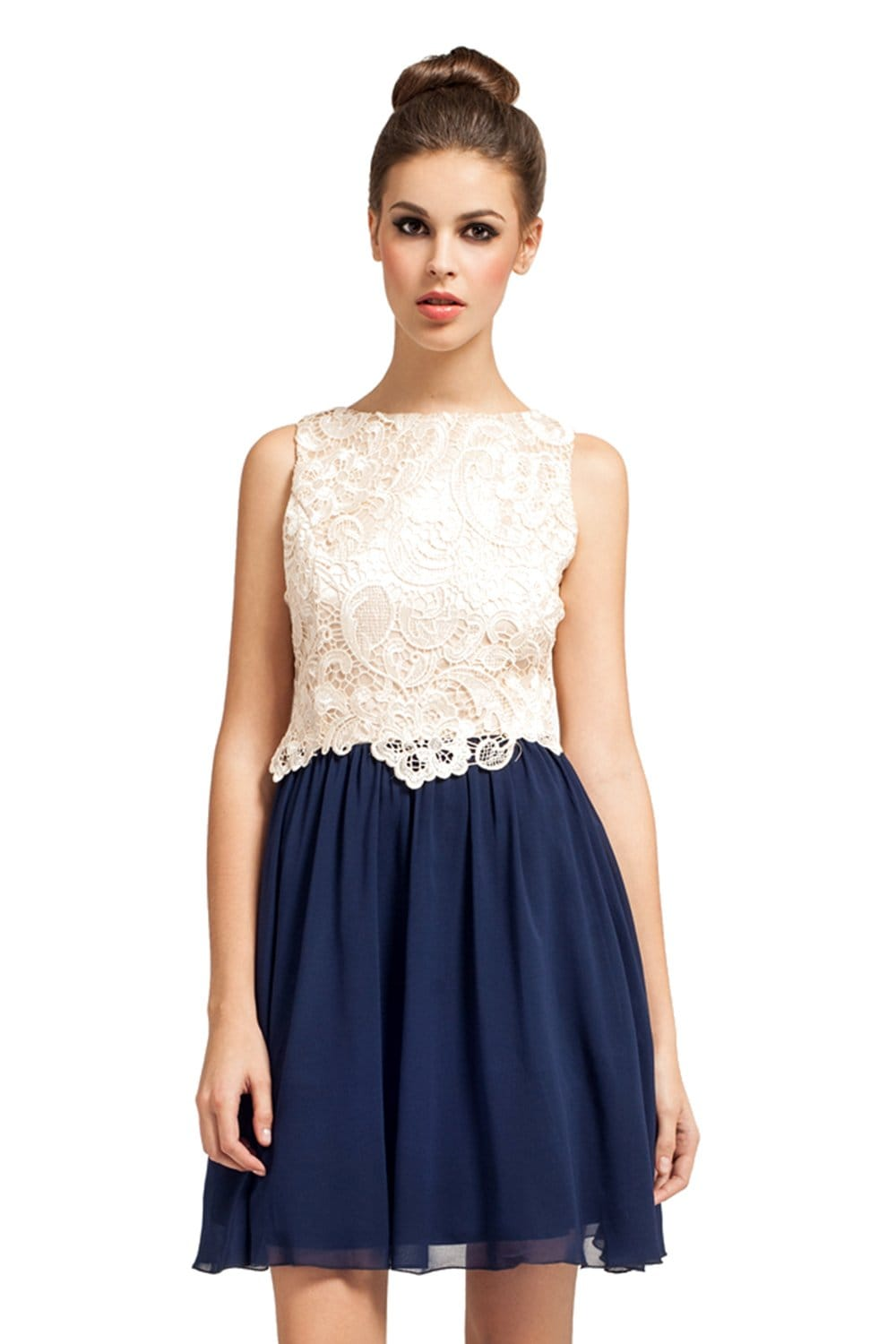 Cream And Navy Lace Overlay Detail 2 in 1 Dress