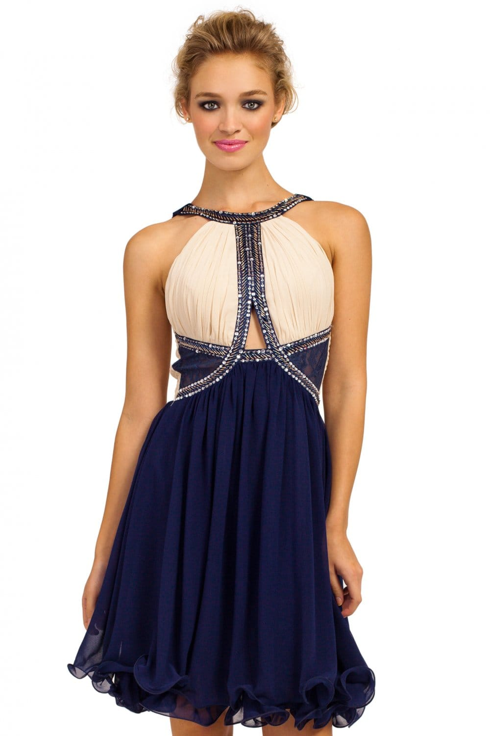 Cream  Navy Embellished Cutout Detail Prom Dress