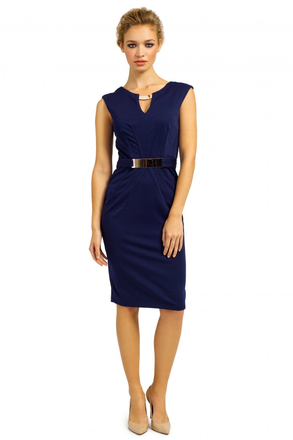 Navy Gold Chocker  Gold Belted Pencil Dress