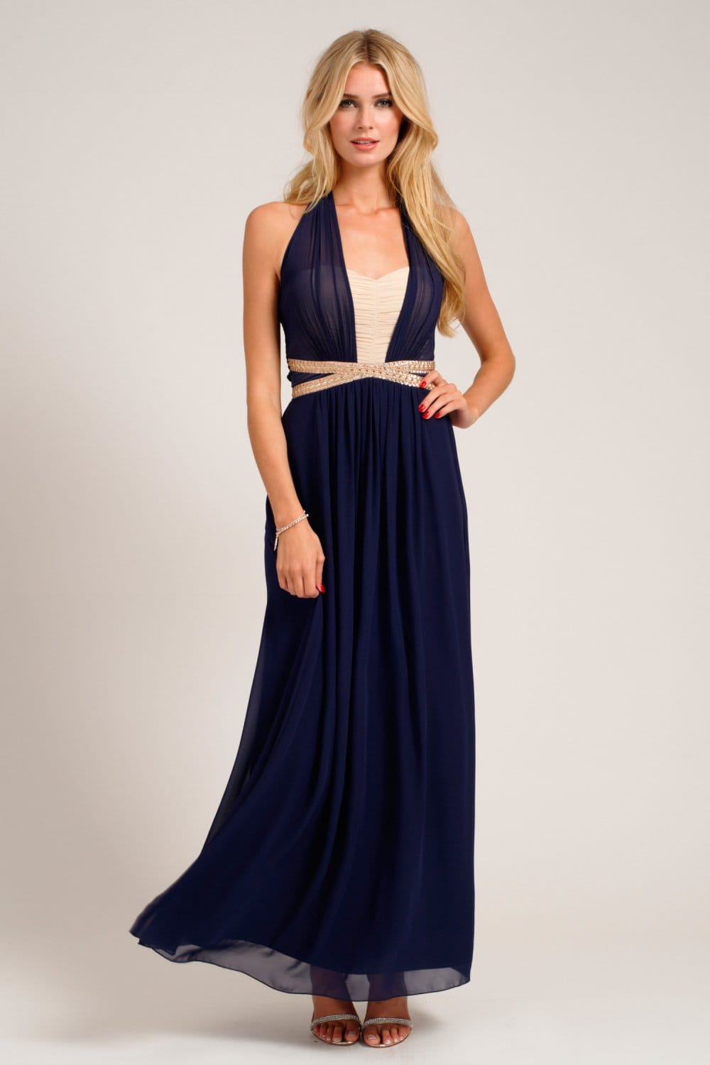 Navy  Cream Embellished Halterneck Chiffon Maxi Dress