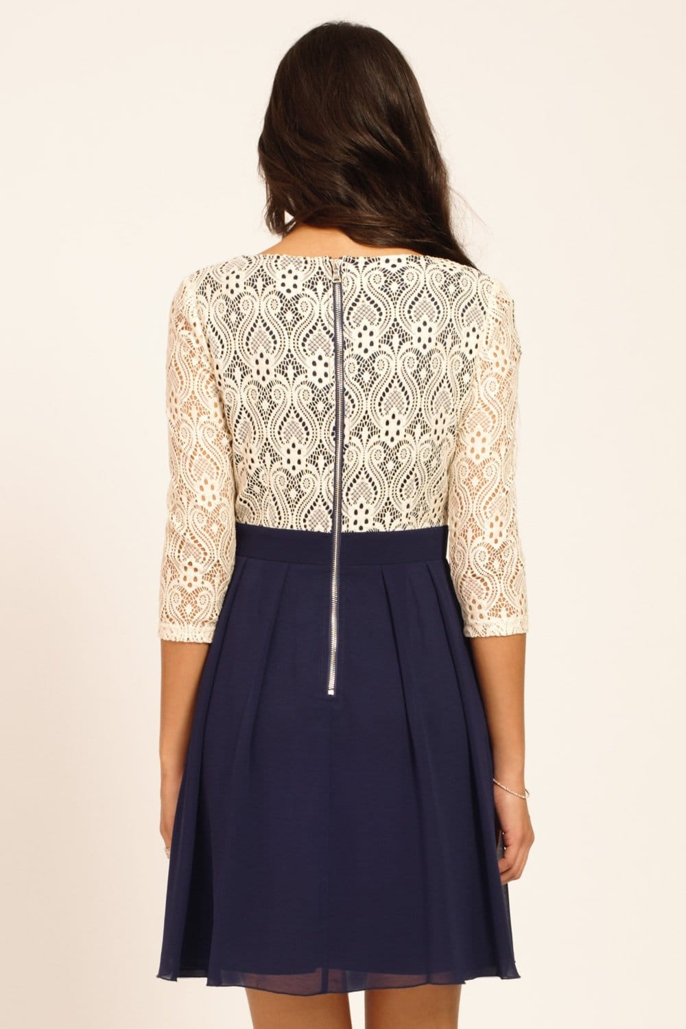 Cream  Navy Lace Detail Long Sleeve Skater Dress