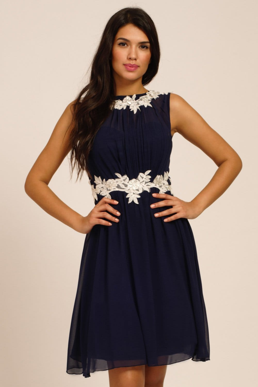 Navy  Cream Floral Lace Applique Chiffon Dress